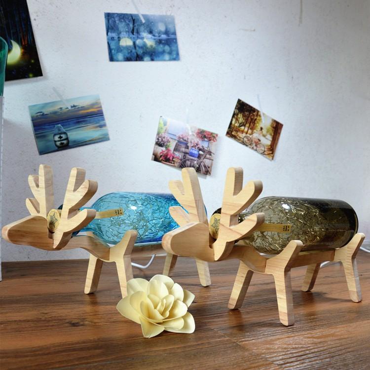 <預購>北歐家飾 手工玻璃實木LED燈泡小鹿燈耶誕麋鹿燈