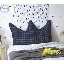 日系皇冠格子床頭靠墊全棉可拆洗榻榻米軟包雙人長靠枕《現貨+追加》