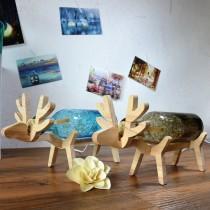 北歐家飾 手工玻璃實木LED燈泡小鹿燈耶誕麋鹿燈